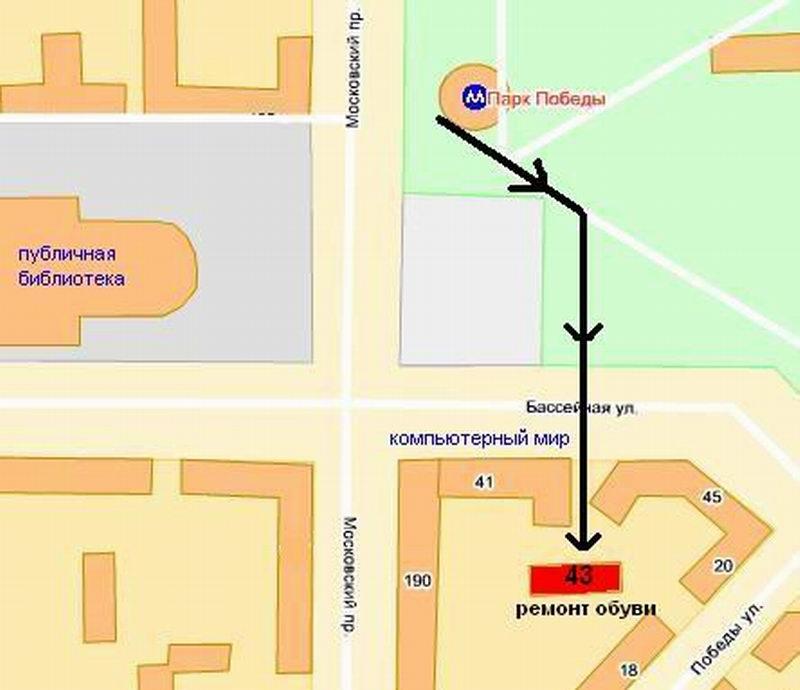 Схема проезда на Яндекс карте